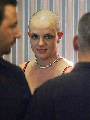 A  bald Britney Spears