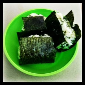 Three baby spinach onigiri
